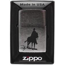 Зажигалка Zippo 200 Bronco Cowboy Brushed Chrome Бензиновая