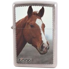 Зажигалка Zippo 200 Рыжая Лошадь Brushed Chrome Бензиновая
