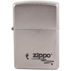 Зажигалка Zippo 205 Footprints Satin Chrome Бензиновая