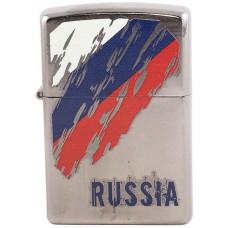 Зажигалка Zippo 207 Russia Flag Satin Chrome Бензиновая
