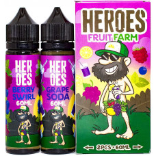 Жидкость Heroes 2*60 мл Fruit Farm: Grape Soda Berry Swirl 0 мг/мл