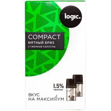 Logic Compact Pods Мятный бриз 1.5% 1.6 мл JTI Картридж Капсулы 2 шт