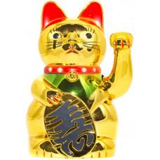 Сувенир Кот Удачи Манэки Нэко Золотой котик с машушей рукой
