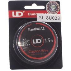 Спираль UD Кантал-A1 Clapton Wire 0.4+0.2мм (26GA*32GA) 4.6м