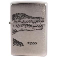 Зажигалка Zippo 200 Alligator Brushed Chrome Бензиновая