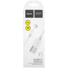 Кабель Hoco USB Type-C X5 Bamboo (100см) Белый