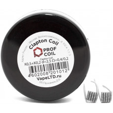 Спирали Prof Coil 2 шт Clapton Coil K0,5+K0,2 0,4/0,2 Ом d=2,5мм