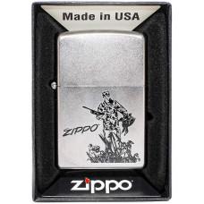 Зажигалка Zippo 205 Duck Hunting Satin Chrome Бензиновая
