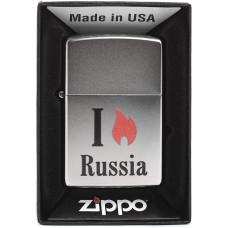 Зажигалка Zippo 205 Flame Russia Satin Chrome Бензиновая