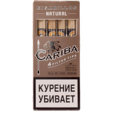 Сигариллы Cariba Filter Tips Natural (Натурал) с мундштуком 4 шт