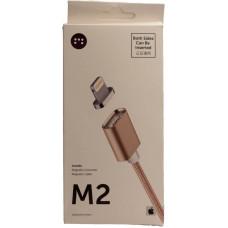 Зарядное устройство Магнит Lightning<-USB 5V золото (магнитный кабель iPhone)