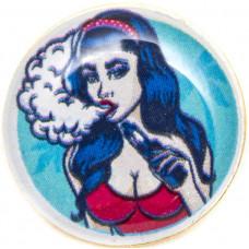 Значок Алиса Vape на Цанге Круг 17 мм Металлический
