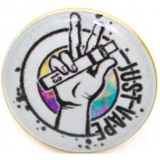 Значок Just Vape на Цанге Круг 17 мм Металлический